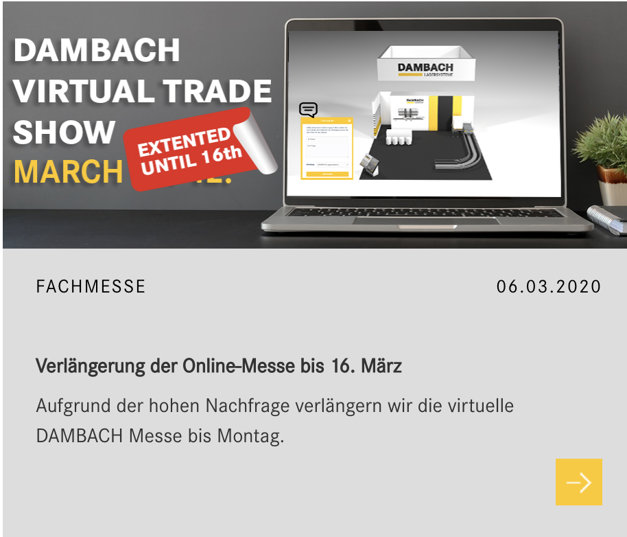Dambach virtual trade show verlängerung